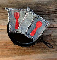 Blue Jeans Hot Pads  Red Spoon Applique Denim by DeMasterDesigns