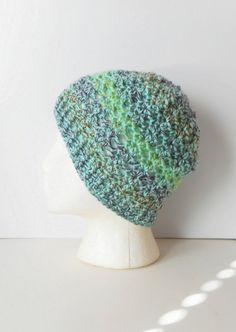 Crochet Skullcap Beanie Hat in Mint Medley ready to by luvbuzz