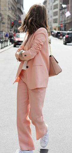 Casual pastel suit street style