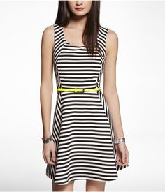 STRIPED PONTE KNIT FIT AND FLARE DRESS | Express