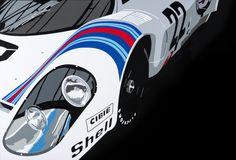 Porsche 917 Martini. Hand-cut vinyl, by www.joelclarkrtist.carbonmade.com