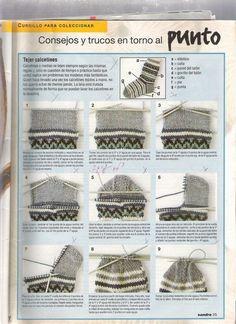 Pattern for knitting sock with 4 needles for beginners - Jocelyn Bridge - - Patron pour tricoter chaussette à 4 aiguilles pour débutante Pattern for knitting sock with 4 needles for beginners - Beginner Knitting Patterns, Knitting Stiches, Crochet Stitches Patterns, Knitting For Beginners, Knitting Socks, Knitting Ideas, Knitting Needles, Knit Crochet, Crochet Hats