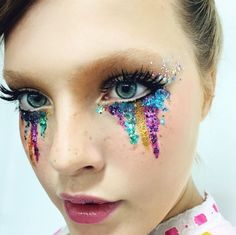 GLITTER MAKEUP for Electric Daisy Carnival. ULTRA?! It's a trippy drippy eye makeup with the multiple colors. <3 @benitathediva