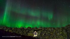 "Breathtaking Aurora show over some ruins at Vatnsleysuströnd, Reykjanes peninsula, Iceland. This is a scene from the film ""Iceland Aurora"""