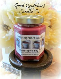 Soy Candle Mulberry Spice 9 ounce hexagon by GoodNeighborsCandle, $10.00