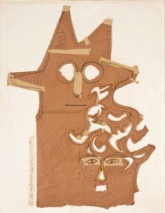 Saul Steinberg  Untitled (Mask)  c. 1959-65   Collage with paper bag and pencil