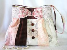French CollageQuiltedPatchwork PurseVintage Wood by Bagzgirl, $52.00