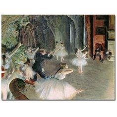 Trademark Art The Rehearsal of the Ballet on Stage Canvas Art by Edgar Degas, Size: 24 x 32, Multicolor