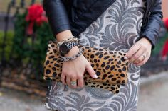 Leopard Clare V. Clutch on Glitter & Gingham