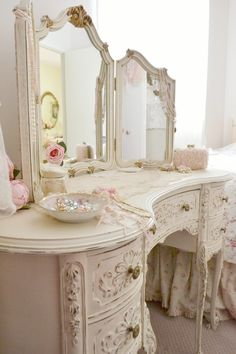 shabby chic #vanity #vintage #ivory                                                                                                                                                                                 More Vanity, Mirror, Pretty, Furniture, Chic Bathrooms, Home Decor, Dresser, Shabby Chic, Painted Makeup Vanity