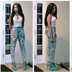 Omg she soooo  beautiful get this jeans @Melissa Rose.com