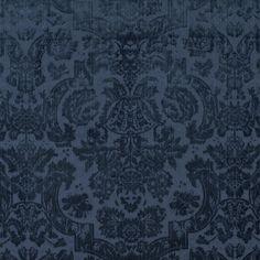 Inside Fabric Grantham Velvet Damask Navy By Ralph Lauren Velvet Wallpaper, Damask Wallpaper, Victorian Wallpaper, Office Wallpaper, Luxury Wallpaper, Wallpaper Ideas, Ralph Lauren Home Living Room, Ralph Lauren Fabric, Decoupage