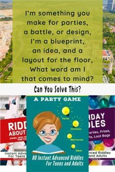 "Riddle:  ""I'm something you make for parties, a battle, or design, I'm a blueprint, an idea, and a layout for the floor, What word am I that comes to mind?"" #stumpedriddles #stumped #riddles #brainteasers Creative Class, Coloring Sheets For Kids, Word Games, Brain Teasers, Together We Can, Children And Family, Riddles, Party Stuff, Getting Things Done"