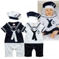 Baby Infant Kid Child Toddler Newborn Boy Girl Navy Marine Grow Onesie Bodysuit Romper Jumpsuit Coverall Outfit One-Piece Sailor Suit Set Ca...