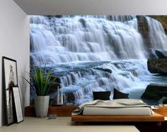 Etiqueta de la pared de tela, papel pintado de vinilo montaña Cliff Waterfall - Mural de pared grande, autoadhesivas y palo