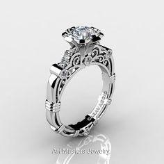 Art Masters Caravaggio 14K White Gold 1.0 Ct White Sapphire Diamond Engagement Ring R623-14KWGDWS