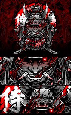 BLACKOUT BROTHER - SAMURAI VECTOR Japanese Art Samurai, Japanese Demon Mask, Japanese Dragon, Samurai Warrior Tattoo, Samurai Helmet, Japan Tattoo Design, Japanese Art Modern, Oni Mask, Samurai Artwork