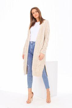 Pletený dámsky kardigán s vrkočovou väzbou béžový Duster Coat, Sweaters, Jackets, Fashion, Down Jackets, Moda, Pullover, Sweater