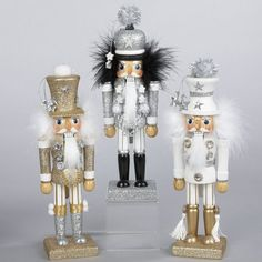 "Kurt Adler 10.5"" Hollywood Decorative Black & Silver Glittered Wooden Christmas Nutcracker Traditional Nutcrackers"