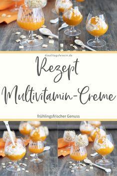 Multivitamin-Creme, ein leckerer Nachtisch, der dir den Frühling in den Mund zaubert. Mit Multivitaminsaft und Joghurt Creme, Deserts, Dessert Recipes, Table Decorations, Health, Yogurt, Simple Dessert, Health Care, Postres