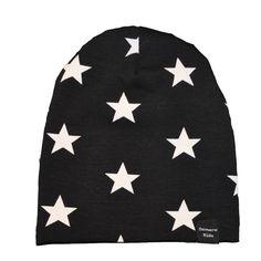 Beanie zwart met witte sterren