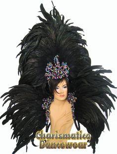 Brazilian Carnival Headdress | Black Drag Samba Carnival Feather Headdress Backpack | eBay
