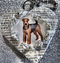 OOAK Handcrafted Airedale Terrier Puppy Dog Altered Art Words Pendant by Bren