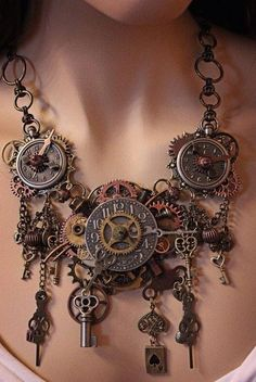 Steampunk Jewelry Clock by Angela Ven Artwork. Someone meantioned steampunk too me yesterday and I felt it fit with my pocket watches. i really like the use of cogs and keys Design Steampunk, Steampunk Kunst, Viktorianischer Steampunk, Costume Steampunk, Steampunk Wedding, Steampunk Necklace, Steampunk Clothing, Steampunk Fashion, Gothic Fashion