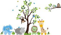 Baby Green Lion Nursery Tree Wall Mural Stickers - Wall Sticker Outlet