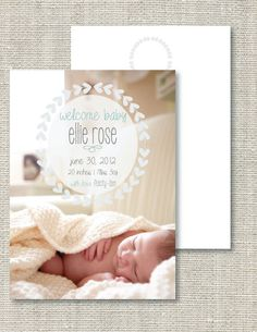 Photo Baby Announcement by ruffdesigns on Etsy, $15.00