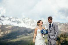 A bride and groom just after their first look on their wedding day at Moonlight Basin/Big Sky Resort in Montana.  #montanawedding #bigskywedding #summersolsticewedding