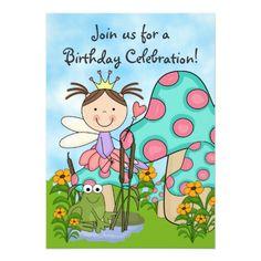 Brunette Fairy Princess and Frog Birthday Invite