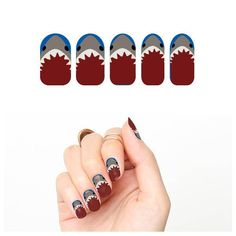 Might be able to replicate with stencils? Tattify Shark Nail Wraps - Jaws (Set of Tattify Jaws Movie, Shark Bait, Shark Tooth Necklace, Tattoo Paper, Temp Tattoo, Shark Week, Artificial Nails, Big Love, Nail Stickers