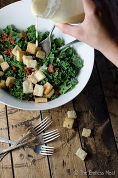 Bacon Kale Caesar Salad