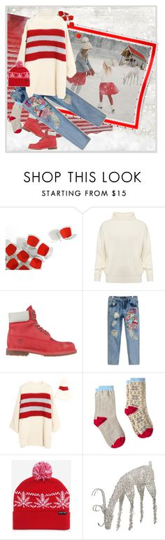 """""""Skating Girls"""" by halebugg ❤ liked on Polyvore featuring Knoll, Joseph, Timberland, White Stuff, HUF, Allstate Floral, Winter, snow, iceskating and redwhiteblue"""