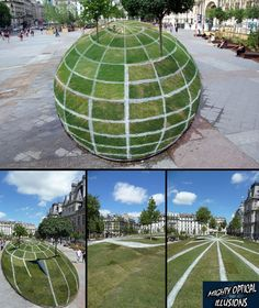 """SIDEWALK SPHERE: Created in Paris by Francois Abenalet, this ingenious sidewalk installation goes beyond the usual chalk drawings by incorporating actual grass and trees. It's a classic example of anamorphosis -- a distorted image that only takes its """"proper"""" form when viewed from exactly the right angle"""