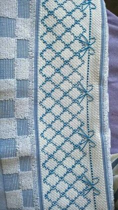 Discover thousands of images about Huckaback embroidery Huck Towels, Swedish Weaving Patterns, Swedish Embroidery, Chicken Scratch Embroidery, Monks Cloth, Drawn Thread, Cross Stitch Bookmarks, Straight Stitch, Bargello
