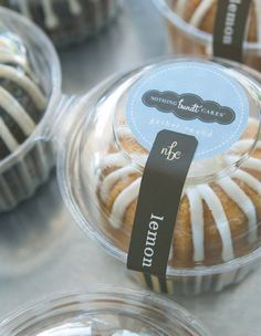 Nothing Bundt Cakes, Austin Picture: Our individual bundtlet size is available in 10 flavors all the time! - Check out Tripadvisor members' candid photos and videos of Nothing Bundt Cakes Dessert Packaging, Bakery Packaging, Food Packaging Design, Korea Cake, Cinnamon Roll Cheesecake, Nothing Bundt Cakes, Cake Cafe, Cake Sizes, Individual Cakes