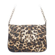 """Rae-Leopard Grace Adele Clutch    Rae combines a simple shape with tough silver studs — perfect when you want to be elegant with an edge.     Fits inside the exterior pocket on your favorite Grace Adele bag.     • Faux leather  • 9"""" L, 7"""" H  • Detachable chain and 27.25"""" faux leather strap  fashion, night club, purse, clutch, bag, #Leopard    https://myfashions.graceadele.us/GraceAdele/Buy/ProductDetails/10666"""