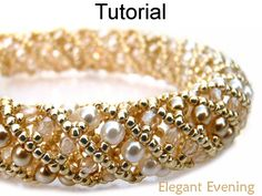 Elegant Evening - Looks like a Russian spiral - Lovely!!  Features 4mm beads (2) colors, 3mm round faceted beads, 11/0 seed beads by Beading Tutorial by SimpleBeadPatterns