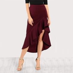Asymmetrical Ruffle Skirt Women (Burgundy)