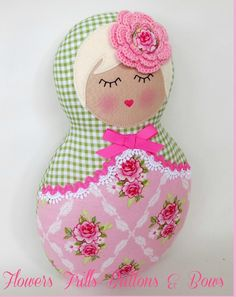 Image of babushka dolly green gingham pink tilda 50$