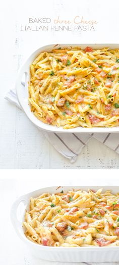 Baked Three-Cheese Italian Penne Pasta | Oh So Delicioso