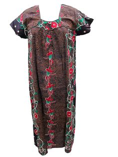 Ladies Nightgown Maxi Cotton Dress Floral Print Kaftan For Women's