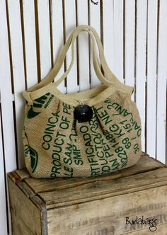 EcoFriendly Burlap Coffee Sack Bag with Large Button by Burlabags, $79.00