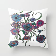 Blooming+Like+Crazy+Throw+Pillow+by+Artsy+Pixie+Media+By+Kara+Mae+Adamo+-+$20.00