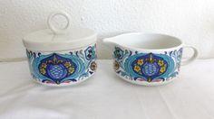 Villeroy & Boch Izmir Lidded Sugar Bowl & Creamer Set, Luxembourg, VGUC #VilleroyBoch