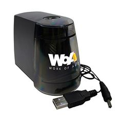 Crayon Sharpeners - Electric Pencil Sharpener by WOA  Handheld Automatic Desk and Classroom Supply USB and Battery Operated Heavy Duty Helix Cutter Reduces Tip Breakage Sharpens Lead and Colored Pencils  Black *** See this great product.