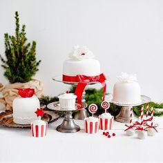 Red & White Cake & Mini Cakes, Cupcakes