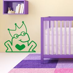 Sticker enfant grenouille prince charmant disponible sur www.optimistick.fr